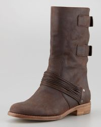 Eileen Fisher Brown Snap Convertible Leather Boot Timber