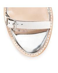Loeffler Randall Metallic Heddie Stacked Heel Sandal