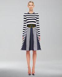 Michael Kors | Blue Mixstripe Shantung Skirt | Lyst