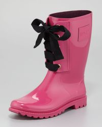 RED Valentino Pink Short Laceup Rain Boot