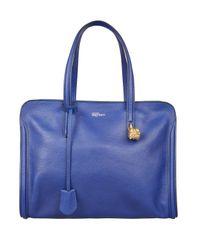 Alexander McQueen Blue Skull Padlock Leather Tote Bag