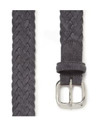 Andersons Gray Woven Suede and Fabric Belt for men