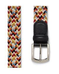 Andersons Yellow Leathertrimmed Elasticated Woven Belt for men