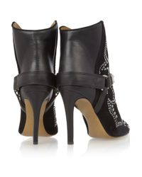 Isabel Marant Black Milwauke Studded Suede and Leather Ankle Boots