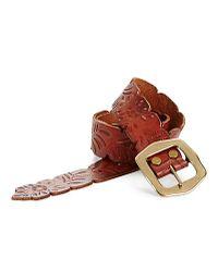 Lucky Brand Brown Leaf Embossed Belt