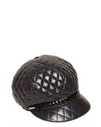 Borsalino Black Baseball Quilted Faux Leather Hat