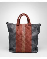 Bottega Veneta Black Ardoise Brique Watteau Intrecciato Club Fume Tote for men