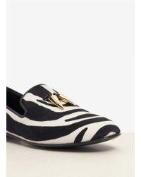 Giuseppe Zanotti Black Kevin Zebra-print Calf-hair Slip-ons for men