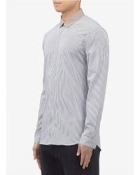 Mauro Grifoni Gray Contrast-collar Vertical Striped Shirt for men