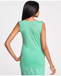 Ann Taylor Green Lace Overlay Shell