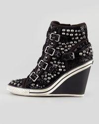 Ash Tosca Sparkling Wedge Hightop Sneaker Black