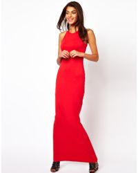 ASOS Red Contrast Strap Back Maxi Dress