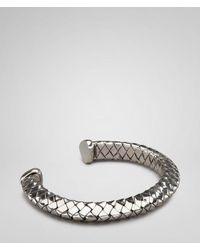 Bottega Veneta Metallic Antique Intrecciato Silver Bracelet for men