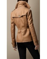 Burberry - Brown Short Shearling Trench Coat - Lyst