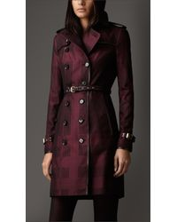 Burberry | Purple Long Check Cotton Trench Coat | Lyst