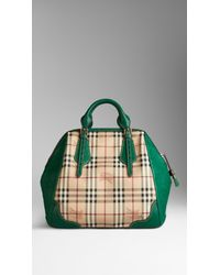 Lyst Burberry The Large Blaze In Check And Ostrich In Green