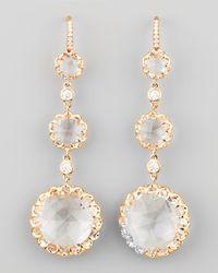 Ivanka Trump Metallic Long Rose Gold Rock Crystal And Diamond Drop Earrings On Diamond French Wire