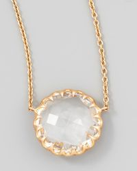 Ivanka Trump | Metallic Rose Gold Chain Rock Crystal Pendant Necklace | Lyst