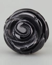 Jan Leslie - Enamelrose Lapel Pin Black - Lyst