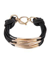 John Lewis - Black Multi Strand Metal Cord Mult Bracelet - Lyst