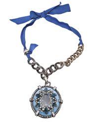 Lanvin - Blue Oval Pendant Necklace - Lyst