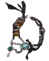 Lanvin | Brown Large Topaz Ribbon Necklace | Lyst