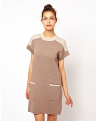 Love Moschino - Natural Simple Knitted Shift Dress - Lyst