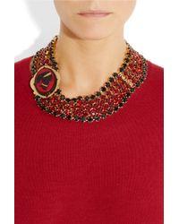 Miu Miu Red Gold-Plated Crystal Cameo Necklace
