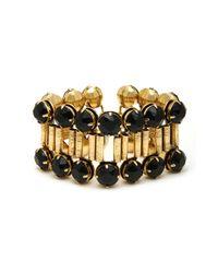 Nicole Miller | Metallic Black Crystal and Gold Bracelet | Lyst