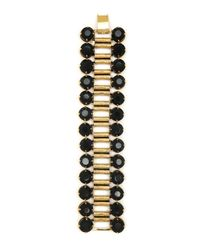 Nicole Miller - Metallic Black Crystal and Gold Bracelet - Lyst