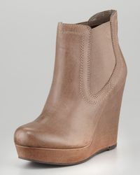Seychelles Prime Suspect Leather Coveredwedge Ankle Boot Brown