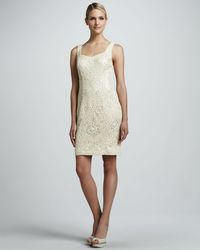 Sue Wong Natural Beaded Sweetheart Cocktail Dress