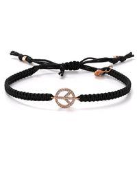 Tai | Peace Sign Bracelet On Black Cord | Lyst