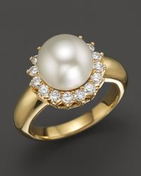 Tara Pearls - 18k Yellow Gold Natural Color White South Sea Cultured Pearl and Diamond Ring - Lyst