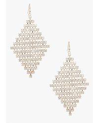 Bebe | Metallic Diamond Shape Crystal Earrings | Lyst