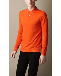Burberry | Orange Long Sleeve Polo Shirt for Men | Lyst