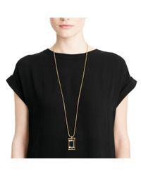 COACH - Metallic Square Pendant Necklace - Lyst