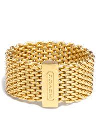COACH - Metallic Mesh Ring - Lyst