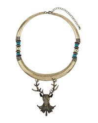 TOPSHOP | Metallic Stag Bar Necklace | Lyst