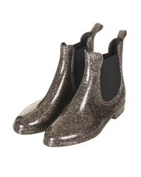 TOPSHOP Gray Dale Glitter Chelsea Wellies