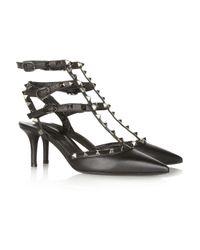 Valentino | Black Rockstud Leather Pumps | Lyst