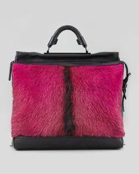 3.1 Phillip Lim Ryder Goat Fur Satchel Bag Pink/black