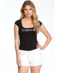 Bebe Black Logo Slash Back Tee