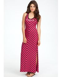Bebe - Pink Logo Chevron Tank Dress - Lyst