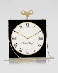 Charlotte Olympia Timepiece Box Clutch Bag Black