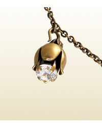 Gucci - Metallic Necklace in Metal with Strass and Glass Pendants - Lyst