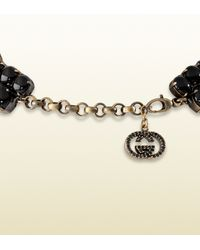 Gucci - Necklace with Black Flowers Motif - Lyst