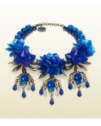 Gucci | Necklace with Blue Flowers Motif | Lyst