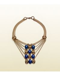 Gucci | Metallic Necklace with Marina Chain Motif and Smoky Blue Beads | Lyst