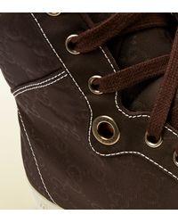 Gucci Brown Nylon Guccissima Hightop Sneaker for men